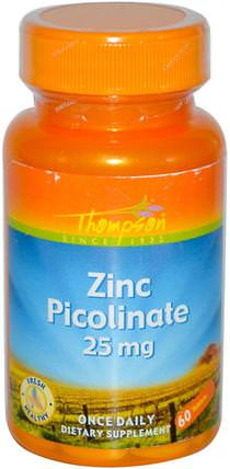Zinc Picolinate, 25 mg, 60 Tablets by Thompson, 補品,礦物質,鋅 HK 香港