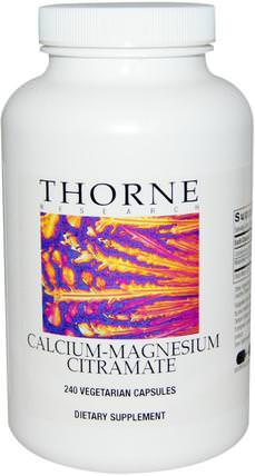 Calcium-Magnesium Citramate, 240 Vegetarian Capsules by Thorne Research, 補充劑,礦物質,鈣和鎂 HK 香港