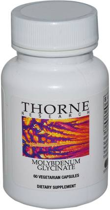 Molybdenum Glycinate, 60 Vegetarian Capsules by Thorne Research, 補充劑,抗氧化劑,硒,鉬,酶 HK 香港