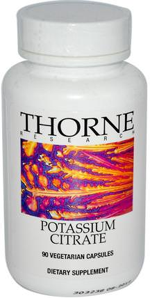 Potassium Citrate, 90 Vegetarian Capsules by Thorne Research, 補充劑,礦物質,鉀 HK 香港