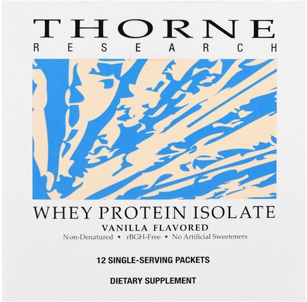 Whey Protein Isolate, Vanilla Flavored, 12 Single Serving Packets, 26.9 g Each by Thorne Research, 補充劑,乳清蛋白 HK 香港