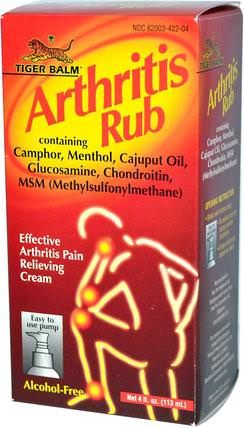 Arthritis Rub, Alcohol-Free, 4 fl oz (113 ml) by Tiger Balm, 健康,關節炎 HK 香港