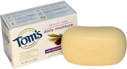 Natural Beauty Bar, Daily Moisture with Olive Oil & Vitamin E, 4 oz (113 g) by Toms of Maine, 洗澡,美容,肥皂 HK 香港