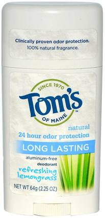 Natural Long Lasting Deodorant, Aluminum-Free, Refreshing Lemongrass, 2.25 oz (64 g) by Toms of Maine, 洗澡,美容,除臭劑 HK 香港