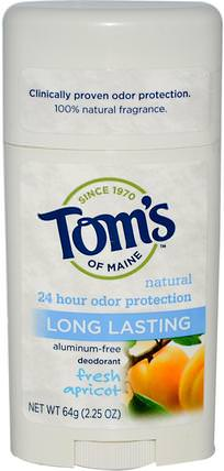 Natural Long Lasting Deodorant, Aluminum-Free, Fresh Apricot, 2.25 oz (64 g) by Toms of Maine, 洗澡,美容,除臭劑 HK 香港