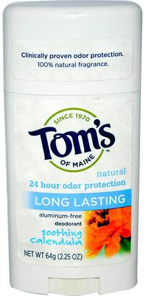 Natural Long Lasting Deodorant, Aluminum-Free, Soothing Calendula, 2.25 oz (64 g) by Toms of Maine, 洗澡,美容,除臭劑,面部護理,曬傷防曬,金盞花 HK 香港