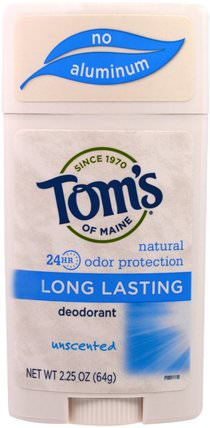 Natural Long-Lasting Deodorant, Unscented, 2.25 oz (64 g) by Toms of Maine, 洗澡,美容,除臭劑 HK 香港