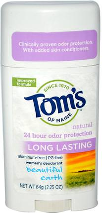 Natural Long Lasting, Aluminum-Free, Womens Deodorant, Beautiful Earth, 2.25 oz (64 g) by Toms of Maine, 洗澡,美容,除臭劑 HK 香港