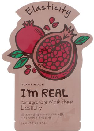 Tony Moly, Im Real, Pomegranate Mask Sheet, Elasticity 健康