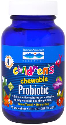 Childrens Chewable Probiotic, Concord Grape, 30 Chewables by Trace Minerals Research, 補充劑,益生菌,兒童益生菌,穩定的益生菌 HK 香港