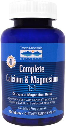 Complete Calcium & Magnesium, 120 Tablets by Trace Minerals Research, 補品,礦物質,鈣 HK 香港