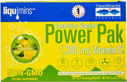 Electrolyte Stamina, Power Pak, 1200 mg, Lemon Lime, 30 Packets, 0.17 oz (4.9 g) Each by Trace Minerals Research, 運動,電解質飲料補水 HK 香港