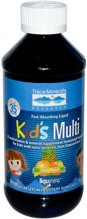 Kids Multi, Citrus Punch, 8 fl oz (237 ml) by Trace Minerals Research, 維生素,多種維生素,兒童多種維生素 HK 香港