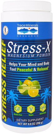 Stress-X Magnesium Powder, Lemon Lime, 8.8 oz (250 g) by Trace Minerals Research, 健康,抗壓力,補品,礦物質,鎂 HK 香港