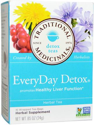 Detox Teas, EveryDay Detox, 16 Wrapped Tea Bags.85 oz (24 g) by Traditional Medicinals, 食物,涼茶,排毒 HK 香港