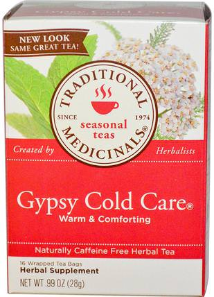Seasonal Teas, Gypsy Cold Care, Naturally Caffeine Free, 16 Wrapped Tea Bags.99 oz (28 g) by Traditional Medicinals, 健康,感冒流感和病毒,感冒和流感 HK 香港
