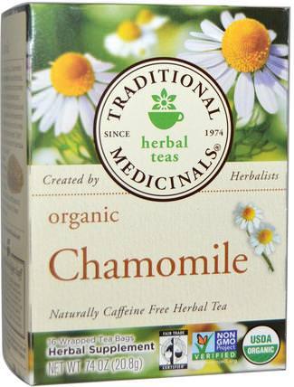 Herbal Teas, Organic Chamomile, Naturally Caffeine Free, 16 Wrapped Tea Bags.74 oz (20.8 g) by Traditional Medicinals, 食物,涼茶,洋甘菊茶 HK 香港