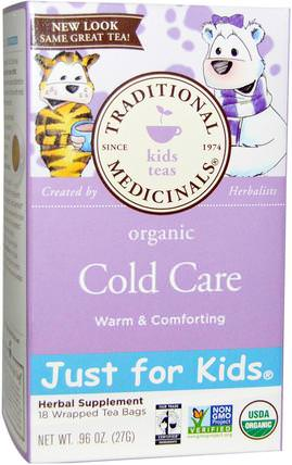 Just for Kids, Organic Cold Care, Naturally Caffeine Free Herbal Tea, 18 Tea Bags.96 oz (27 g) by Traditional Medicinals, 食物,涼茶,感冒感冒咳嗽 HK 香港