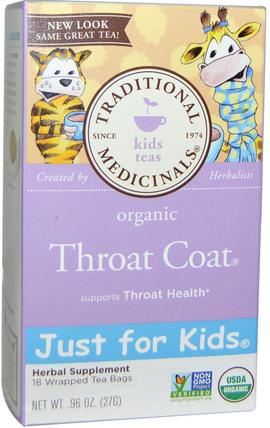 Just for Kids, Organic Throat Coat, Naturally Caffeine Free Herbal Tea, 18 Wrapped Tea Bags.96 oz (27 g) by Traditional Medicinals, 食物,涼茶 HK 香港