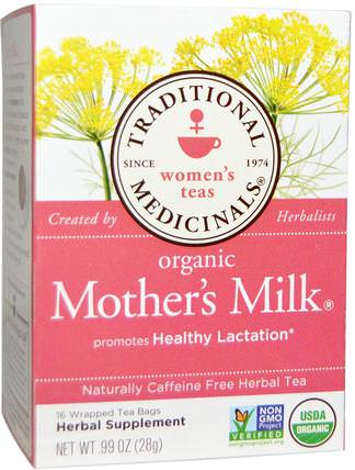 Womens Teas, Organic Mothers Milk, Naturally Caffeine Free, 16 Wrapped Tea Bags.99 oz (28 g) by Traditional Medicinals, 食物,涼茶,嬰兒餵養,母乳喂養 HK 香港