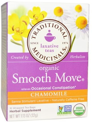 Laxative Teas, Organic Smooth Move, Chamomile, Naturally Caffeine Free Herbal Tea, 16 Wrapped Tea Bags, 1.13 oz (32 g) by Traditional Medicinals, 健康,便秘,食物,涼茶,洋甘菊茶 HK 香港
