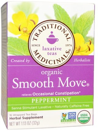 Laxative Teas, Organic Smooth Move, Peppermint, Naturally Caffeine Free Herbal Tea, 16 Wrapped Tea Bags, 1.13 oz (32 g) by Traditional Medicinals, 健康,便秘,食物,涼茶,薄荷茶 HK 香港