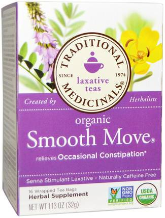 Laxative Teas, Organic Smooth Move, Senna Stimulant Laxative, Naturally Caffeine Free Herbal Tea, 16 Wrapped Tea Bags, 1.13 oz (32 g) by Traditional Medicinals, 食物,涼茶,健康,便秘 HK 香港