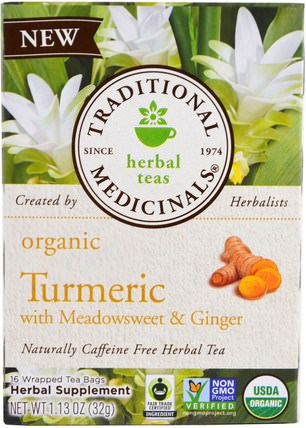 Organic Turmeric with Meadowsweet & Ginger, 16 Wrapped Tea Bags, 1.13 oz (32 g) by Traditional Medicinals, 補充劑,抗氧化劑,薑黃素,食品,涼茶 HK 香港
