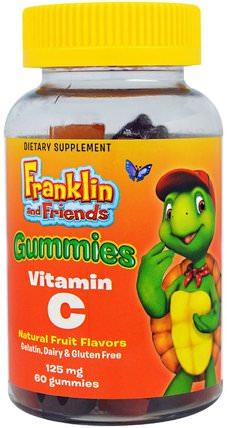 Treehouse Kids, Franklin and Friends, Gummies Vitamin C, Mixed Fruit Flavors, 125 mg, 60 Gummies 熱敏感產品,維生素,維生素C gummies