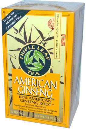 Triple Leaf Tea, American Ginseng, Caffeine-Free, 20 Tea Bags, 1.4 oz (40 g) 補充劑,adaptogen,感冒流感和病毒,人參美國人