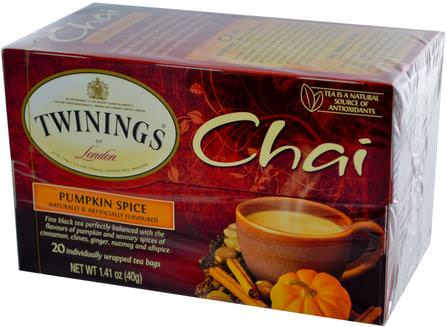Chai, Pumpkin Spice, 20 Tea Bags, 1.41 oz (40 g) by Twinings, 食物,涼茶,柴茶 HK 香港