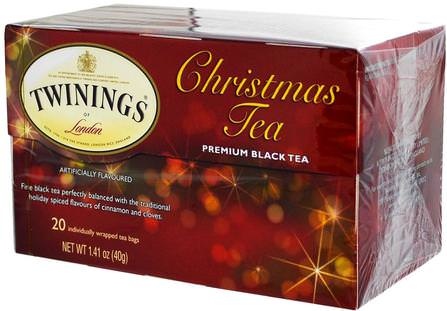 Christmas Tea, Premium Black Tea, 20 Tea Bags, 1.41 oz (40 g) by Twinings, 食物,涼茶,紅茶 HK 香港