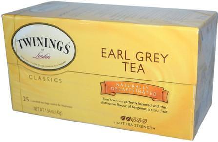 Classics, Earl Grey, Decaffeinated, 25 Tea Bags, 1.54 oz (43 g) by Twinings, 食物,涼茶,伯爵灰茶 HK 香港