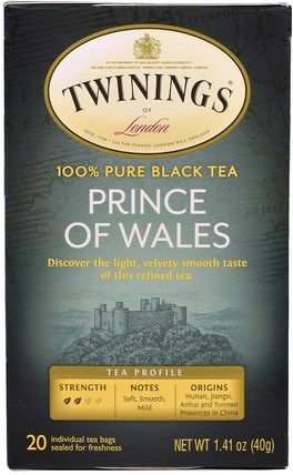 Prince of Wales Tea, 20 Tea Bags, 1.41 oz (40 g) by Twinings, 食物,涼茶,紅茶 HK 香港