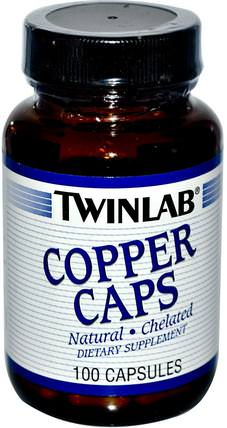 Copper Caps, 100 Capsules by Twinlab, 補品,礦物質,銅 HK 香港
