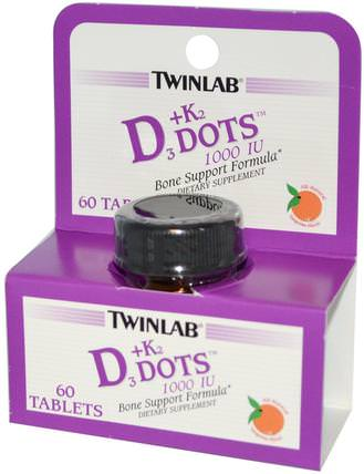 D3 Dots + K2, All-Natural Tangerine Flavor, 60 Tablets by Twinlab, 維生素,維生素d3,維生素k HK 香港