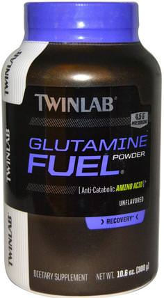 Glutamine Fuel Powder, Unflavored, 10.6 oz (300 g) by Twinlab, 補充劑,氨基酸,l谷氨酰胺,l谷氨酰胺粉末,運動,運動 HK 香港