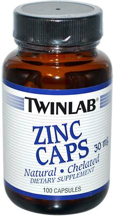Zinc Caps, 30 mg, 100 Capsules by Twinlab, 補品,礦物質,鋅 HK 香港