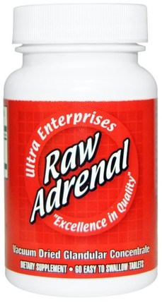 Raw Adrenal, 60 Easy-To-Swallow Tablets by Ultra Glandular Enterprises, 補充劑,腎上腺,牛產品 HK 香港