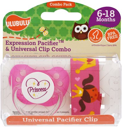 Expression Pacifiers & Universal Clip Combo, Princess, 6-18 Months, 2 Pieces by Ulubulu, 兒童健康,嬰兒,兒童 HK 香港