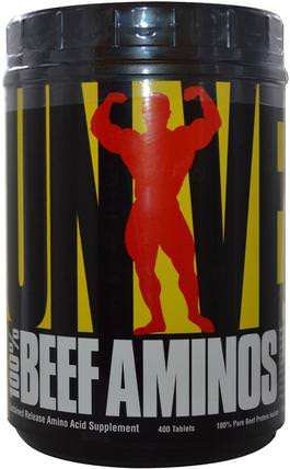 100% Beef Aminos, Sustained Release Amino Acid Supplement, 400 Tablets by Universal Nutrition, 氨基酸組合,補充劑,肝臟產品 HK 香港