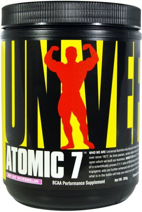 Atomic 7, BCAA Performance Supplement, Way Out Watermelon, 384 g by Universal Nutrition, bcaa(支鏈氨基酸),運動,鍛煉,運動 HK 香港