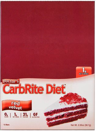 Doctors CarbRite Diet, Red Velvet, 12 Bars, 2.00 oz (56.7 g) Each by Universal Nutrition, 健康,運動,蛋白質棒 HK 香港