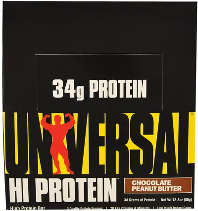 HiProtein Bar, Chocolate Peanut Butter, 16 Bars, 3 oz (85 g) Each by Universal Nutrition, 蛋白棒 HK 香港