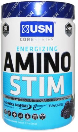 Amino Stim, Concetrated Focus, Energy and Recovery Stack, Blue Raspberry Flavor, 11.11 oz (315 g) by USN, 運動,鍛煉,運動 HK 香港