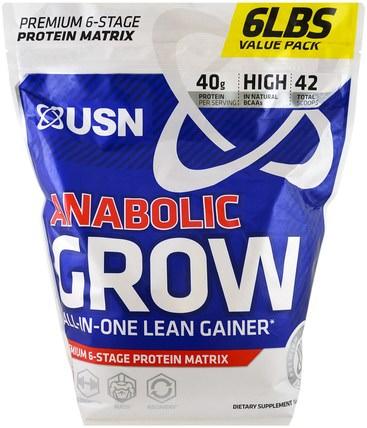 Anabolic Grow, Chocolate, 6 lbs (2.73 kg) by USN, 補充劑,合成代謝補品,蛋白質 HK 香港