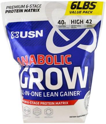 Anabolic Grow, Cinnamon Bun, 6 lbs (2.73 kg) by USN, 補充劑,合成代謝補品,蛋白質 HK 香港