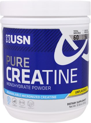 Pure Creatine, Monohydrate Powder, Unflavored, 10.58 oz (300 g) by USN, 運動,肌酸粉,鍛煉 HK 香港