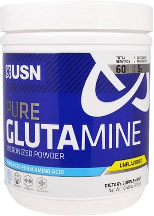 Pure Glutamine Micronized Powder, Unflavored, 10.58 oz (300 g) by USN, 補充劑,氨基酸,l谷氨酰胺,l谷氨酰胺粉末,運動,運動 HK 香港