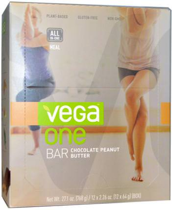 Vega, One Bar, Chocolate Peanut Butter, 12 Bars, 2.26 oz (64 g) Each 補充劑,營養棒